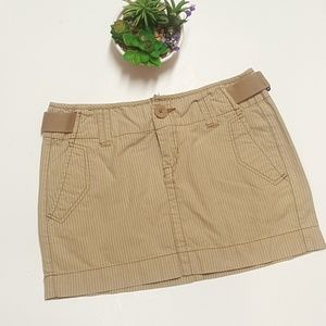 Aeropostale Khaki Striped Mini Skirt Size 1/2